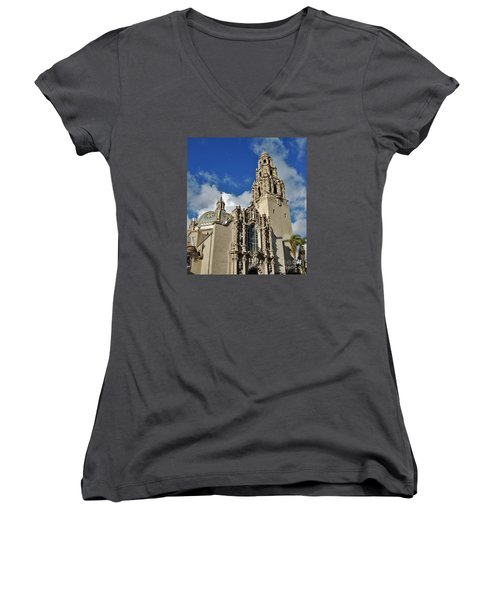 California Tower 2010 Women's V-Neck T-Shirt (Junior Cut) by Jasna Gopic
