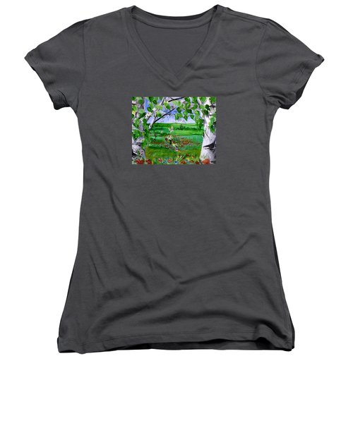 Call Of The Homeland Women's V-Neck T-Shirt
