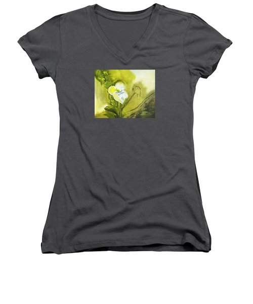 Calla Lily In Acrylic Women's V-Neck T-Shirt (Junior Cut) by Frank Bright