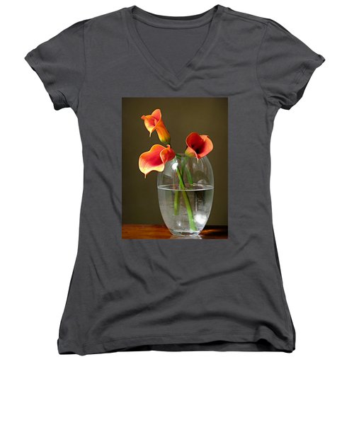 Calla Lily Stems Women's V-Neck T-Shirt (Junior Cut) by Diana Angstadt