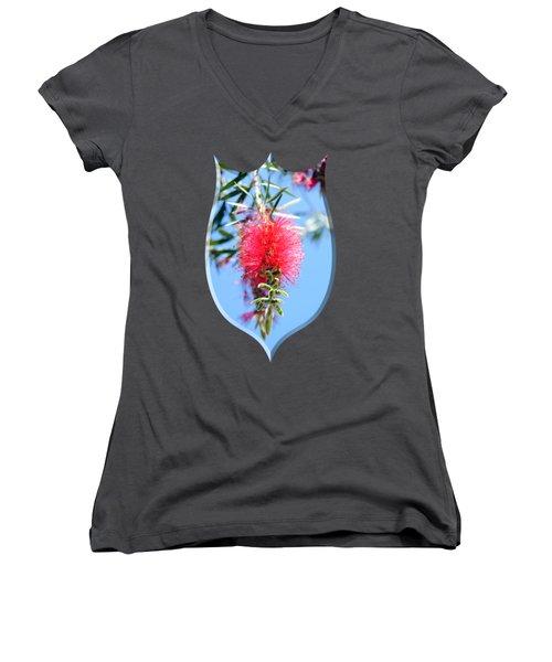 Callistemon - Bottle Brush T-shirt 1 Women's V-Neck T-Shirt (Junior Cut) by Isam Awad