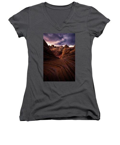 Calm Before The Storm Women's V-Neck T-Shirt (Junior Cut) by Bjorn Burton