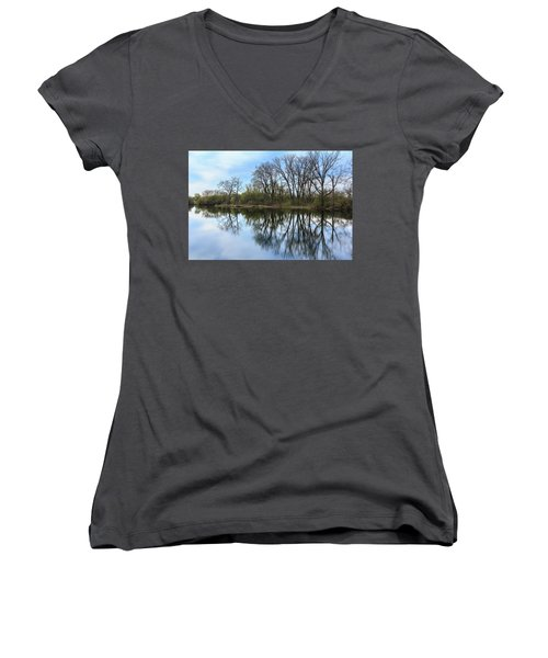 Calm Waters At Wayne Woods Women's V-Neck T-Shirt
