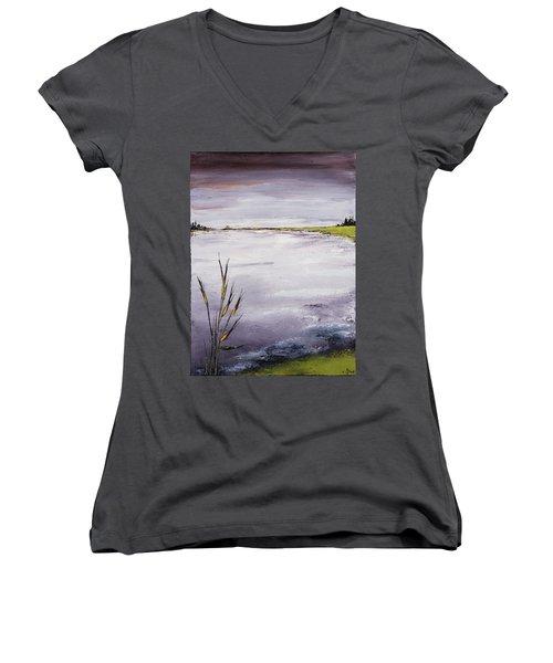 Calmer Water Women's V-Neck T-Shirt (Junior Cut) by Carolyn Doe