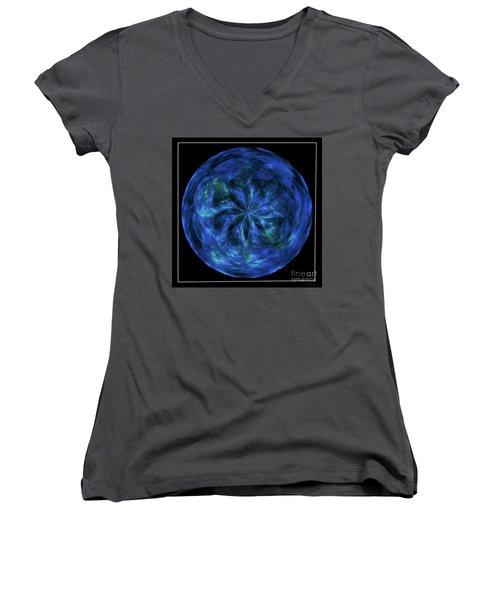 Calming Blue Orb Women's V-Neck T-Shirt