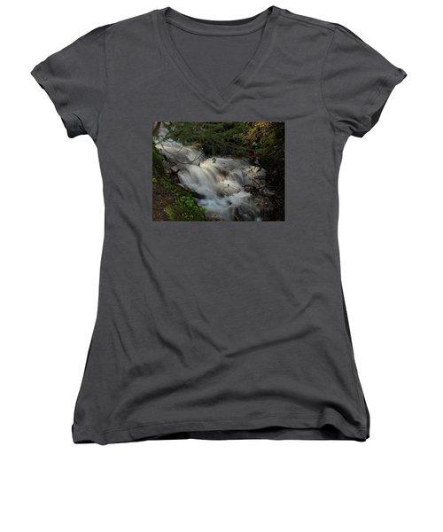 Calming Stream Women's V-Neck T-Shirt (Junior Cut) by DeeLon Merritt