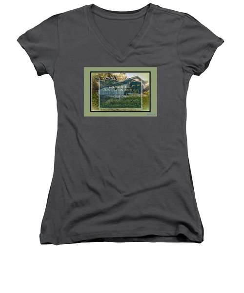Cambridge Jct. Bridge History Women's V-Neck T-Shirt (Junior Cut) by John Selmer Sr