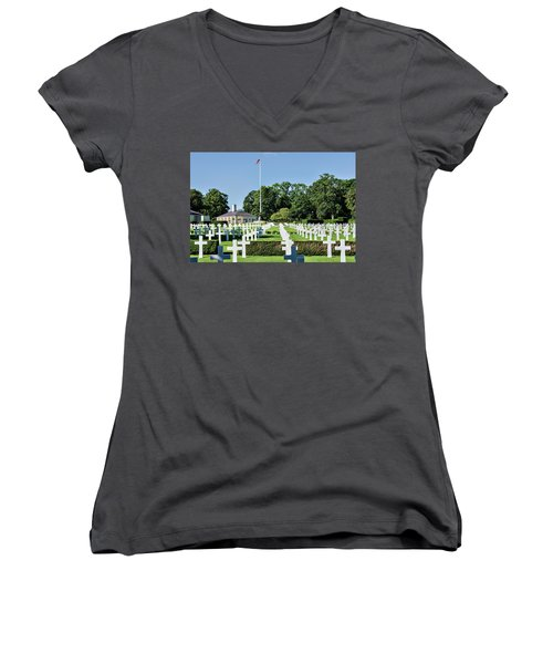 Cambridge England American Cemetery Women's V-Neck T-Shirt (Junior Cut) by Alan Toepfer