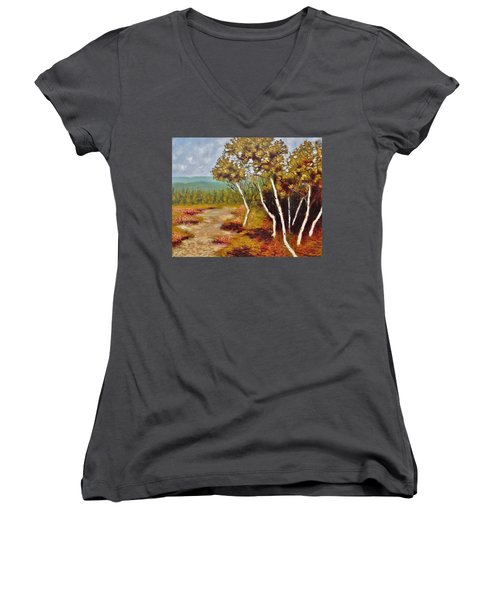 Camel Top Birches Women's V-Neck T-Shirt (Junior Cut) by Jason Williamson
