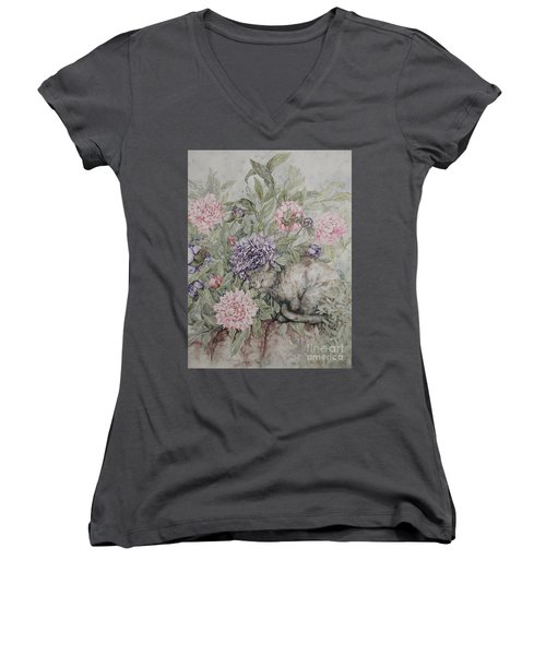 Camouflaged Women's V-Neck T-Shirt (Junior Cut) by Kim Tran