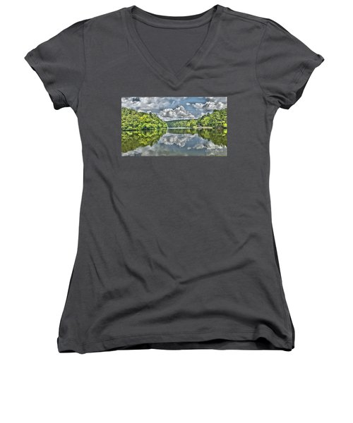 Camp Mountain Lake Women's V-Neck T-Shirt (Junior Cut)