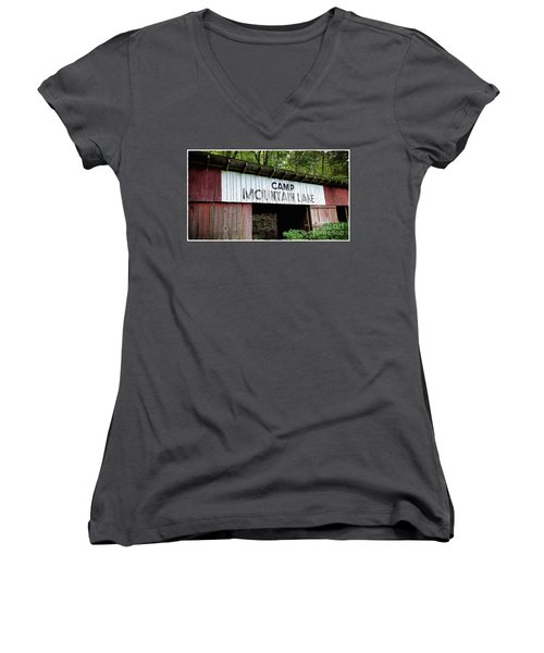 Camp Mountain Lake Horse Stables - Vintage America Women's V-Neck (Athletic Fit)