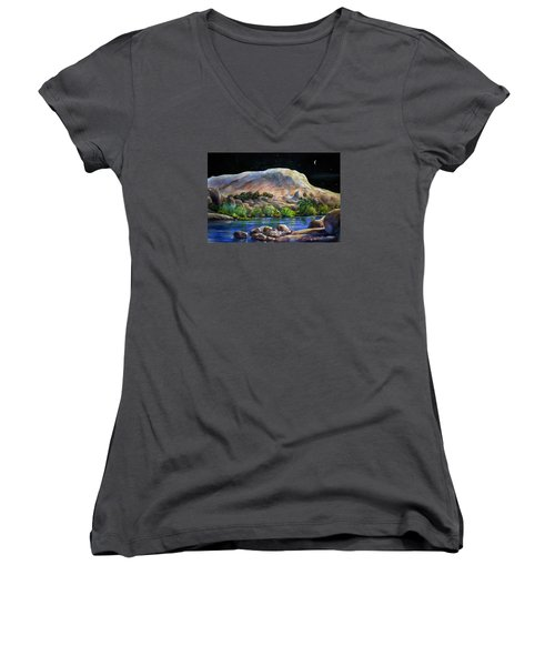 Camping In The Moonlight Women's V-Neck (Athletic Fit)