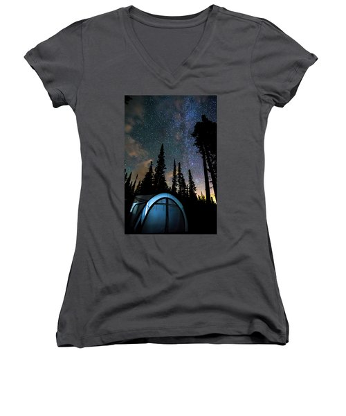 Women's V-Neck T-Shirt (Junior Cut) featuring the photograph Camping Star Light Star Bright by James BO Insogna