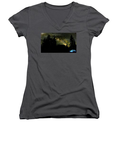 Camping Under The Milky Way 2 Women's V-Neck