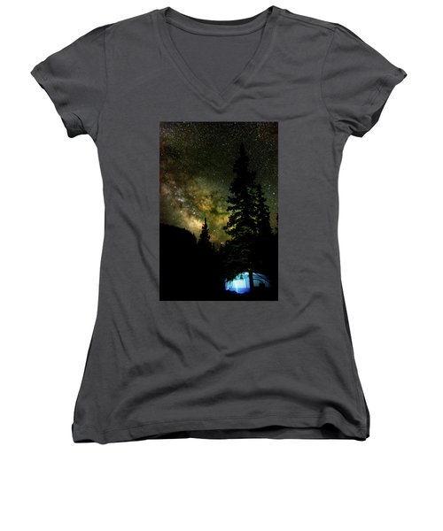 Camping Under The Milky Way Women's V-Neck