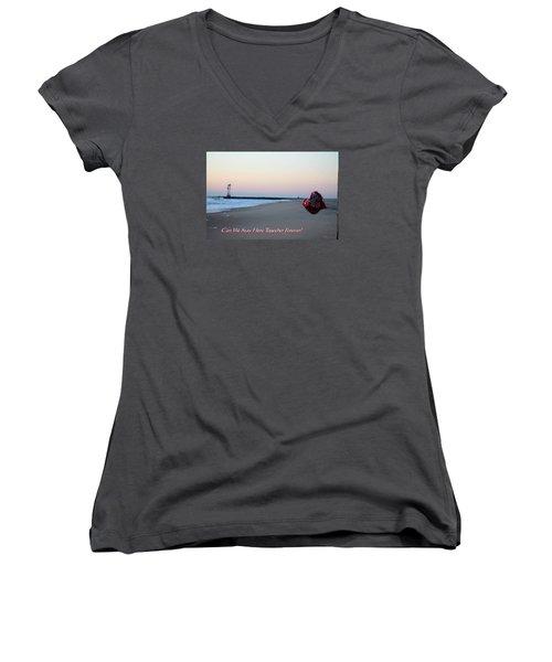 Can We Stay Here... Women's V-Neck T-Shirt (Junior Cut) by Robert Banach