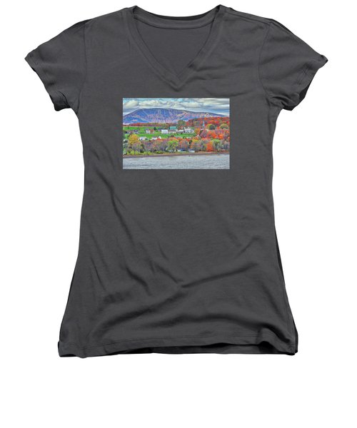 Canadian Fall Foliage Women's V-Neck (Athletic Fit)