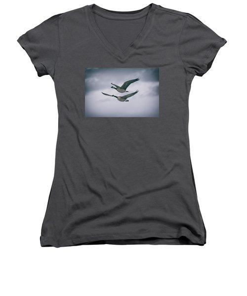Canadian Geese In Flight Women's V-Neck