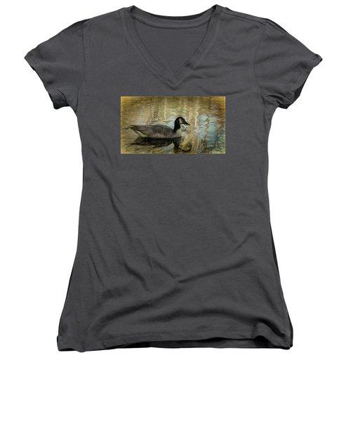 Canadian Goose Women's V-Neck T-Shirt (Junior Cut) by Steven Richardson