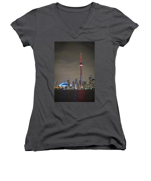 Canadian Landmark Women's V-Neck T-Shirt (Junior Cut) by Nick Mares