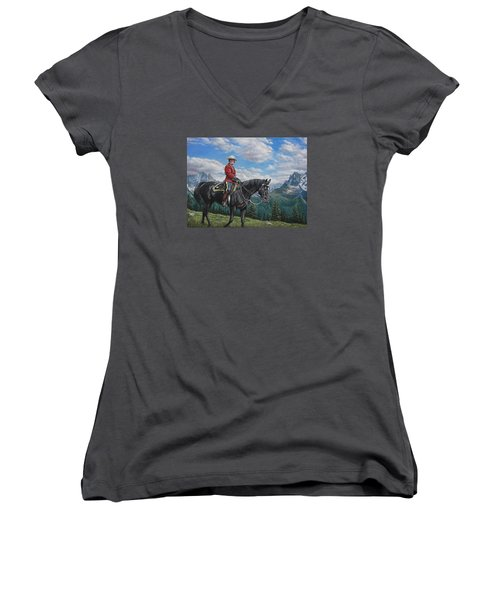Women's V-Neck T-Shirt (Junior Cut) featuring the painting Canadian Majesty by Kim Lockman