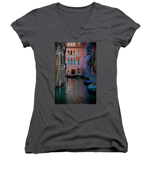 Canal At Dusk Women's V-Neck T-Shirt (Junior Cut) by Harry Spitz
