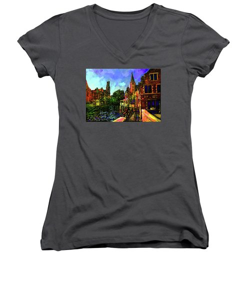 Canal In Bruges Women's V-Neck T-Shirt (Junior Cut) by DC Langer