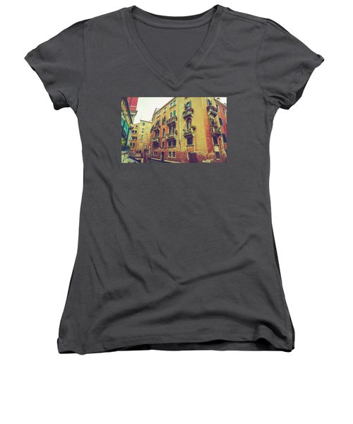 Canal In Venice, Italy Women's V-Neck T-Shirt