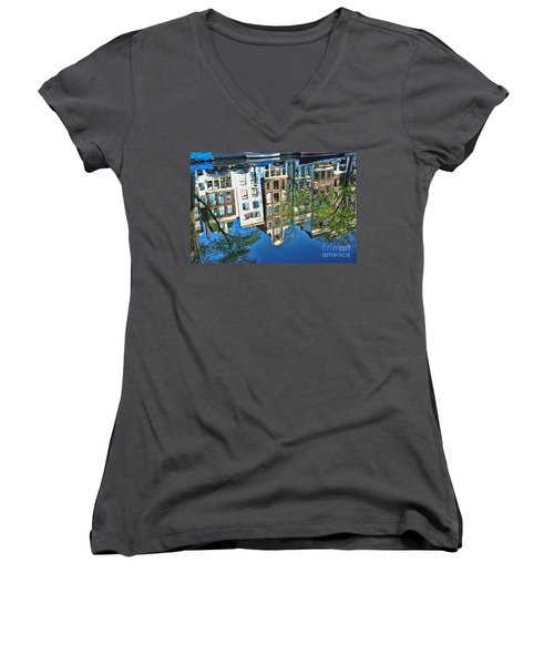 Women's V-Neck T-Shirt (Junior Cut) featuring the photograph Amsterdam Canal Reflection  by Allen Beatty