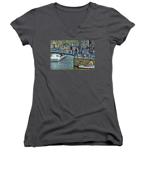 Women's V-Neck T-Shirt (Junior Cut) featuring the photograph Amsterdam Canal Scene 1 by Allen Beatty