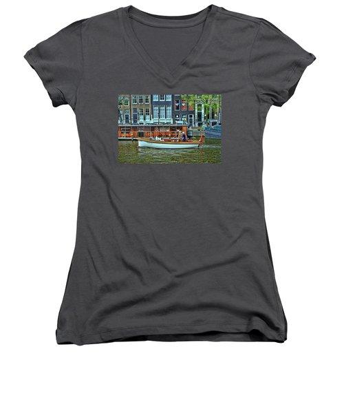 Women's V-Neck T-Shirt (Junior Cut) featuring the photograph Amsterdam Canal Scene 10 by Allen Beatty