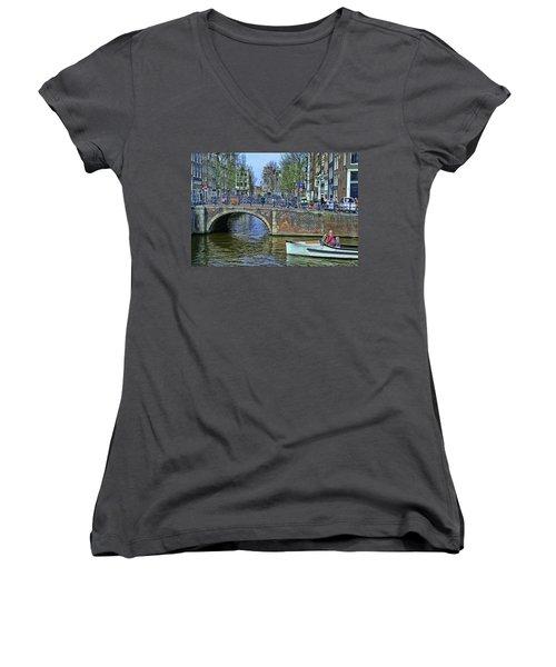 Women's V-Neck T-Shirt (Junior Cut) featuring the photograph Amsterdam Canal Scene 3 by Allen Beatty