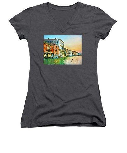 Women's V-Neck T-Shirt (Junior Cut) featuring the photograph Canal Sunset - Venice by Tom Cameron