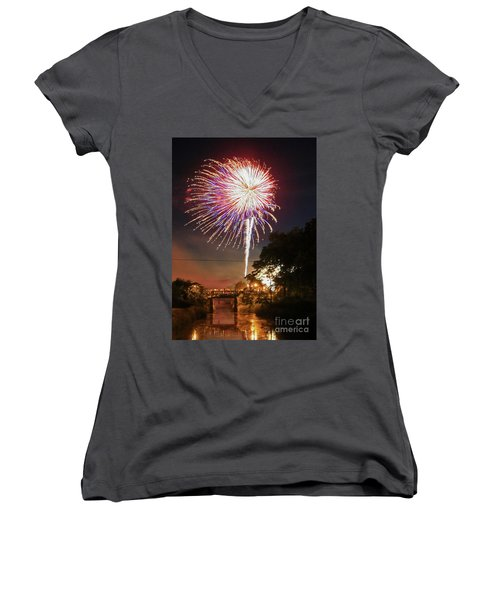 Canal View Of Fire Works Women's V-Neck