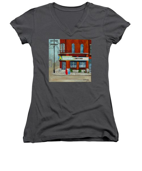 Canary Restaurant Women's V-Neck (Athletic Fit)