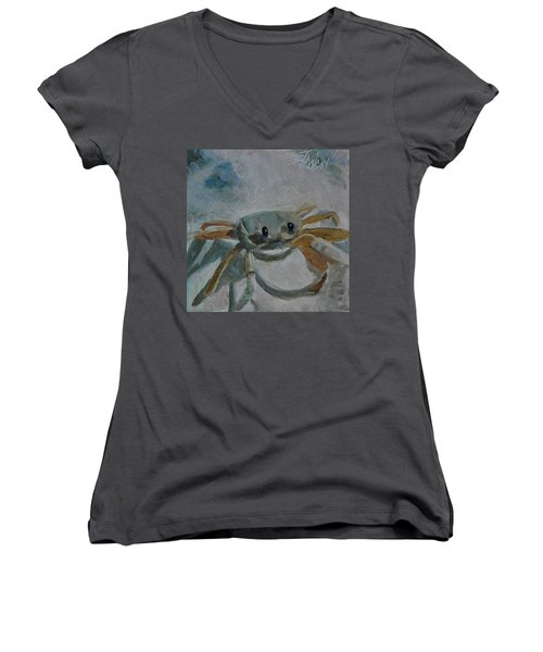 Cancer's Are Not Crabby Women's V-Neck T-Shirt (Junior Cut) by Billie Colson