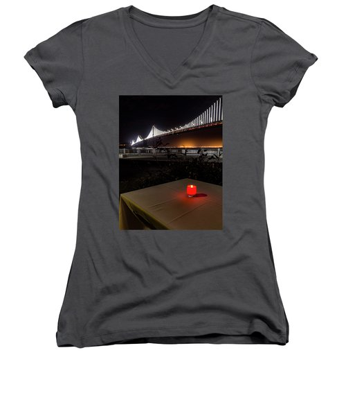 Women's V-Neck T-Shirt (Junior Cut) featuring the photograph Candle Lit Table Under The Bridge by Darcy Michaelchuk