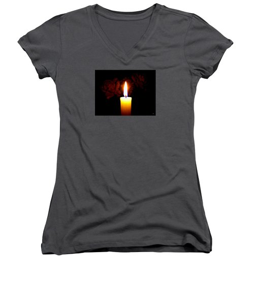 Candlelight And Roses Women's V-Neck T-Shirt (Junior Cut) by Will Borden