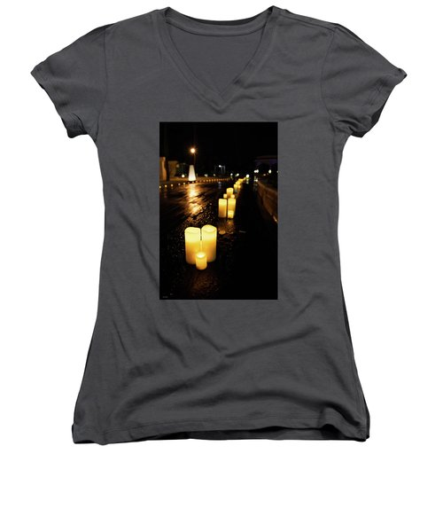 Candles On The Beach Women's V-Neck