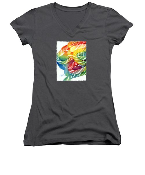 Women's V-Neck T-Shirt (Junior Cut) featuring the painting Candy Canes by Hailey E Herrera