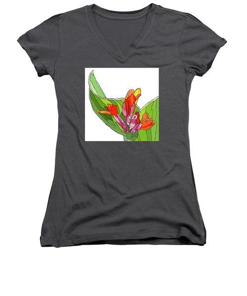 Canna Bud Women's V-Neck T-Shirt