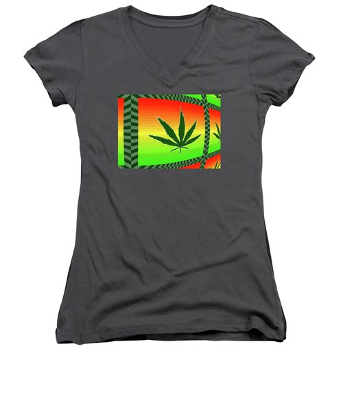 Women's V-Neck T-Shirt (Junior Cut) featuring the mixed media Cannabis  by Dan Sproul
