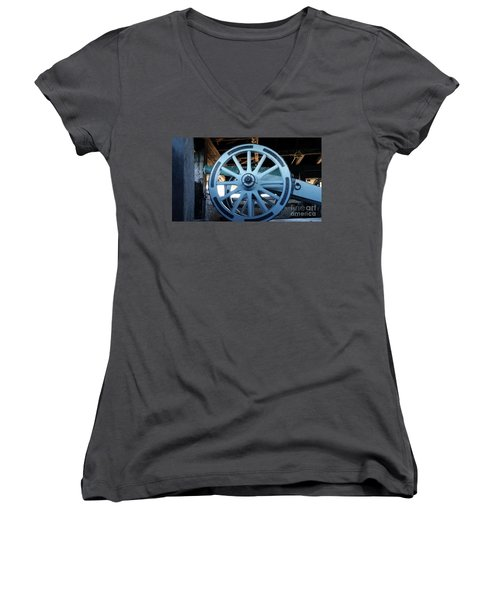 Women's V-Neck T-Shirt (Junior Cut) featuring the photograph Cannon by Raymond Earley