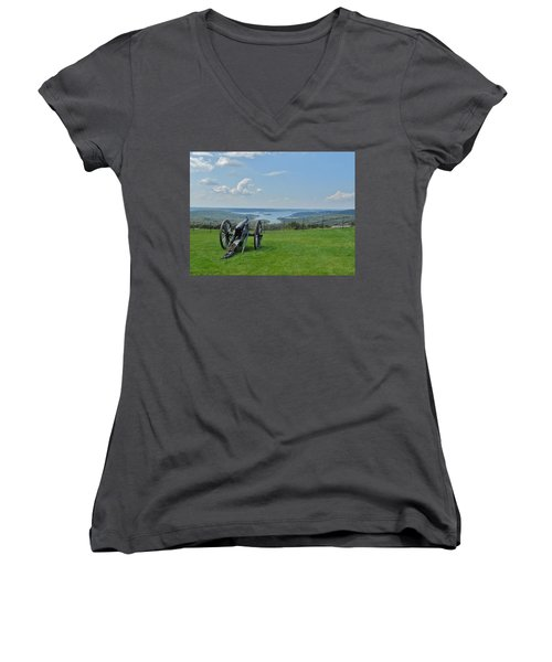 Cannons Ready Women's V-Neck T-Shirt (Junior Cut) by Julie Grace
