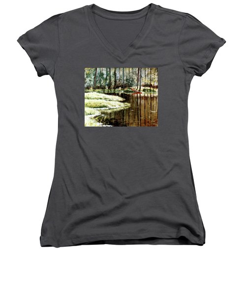 Canoe On Pond Women's V-Neck