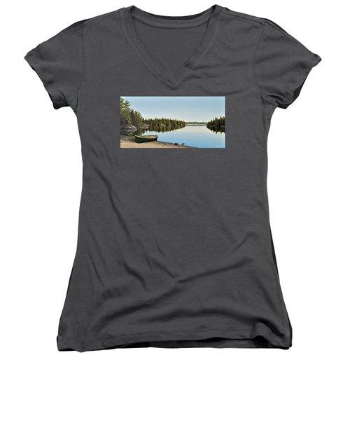 Canoe The Massassauga Women's V-Neck T-Shirt (Junior Cut) by Kenneth M  Kirsch