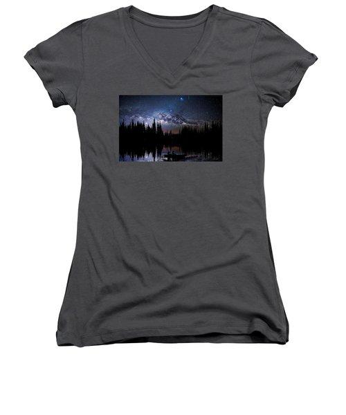 Canoeing - Milky Way - Night Scene Women's V-Neck T-Shirt (Junior Cut) by Andrea Kollo