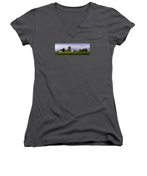 Women's V-Neck T-Shirt (Junior Cut) featuring the photograph Canterbury Shaker Village Nh by Betty Denise
