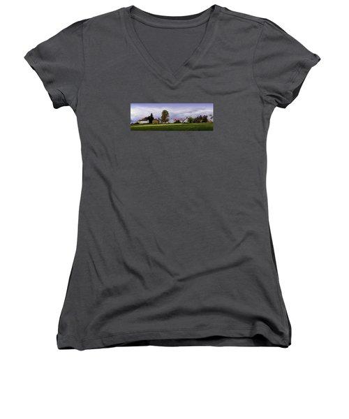 Canterbury Shaker Village Nh Women's V-Neck T-Shirt (Junior Cut) by Betty Denise